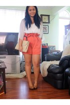 carrot orange high waisted H&M shorts - white flowy Forever21 shirt