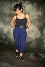 Vintage-beige-sheer-top-top-black-forever-21-belt-belt-blue-trousers-pants-