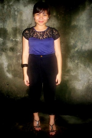 lacey top blouse - velvet black pants - Shoes