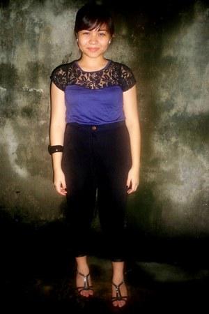 lacey top blouse - velvet black pants - Shoes