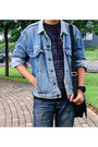 White-shoes-navy-jeans-blue-denim-snapback-hat-navy-denim-jacket-jacket