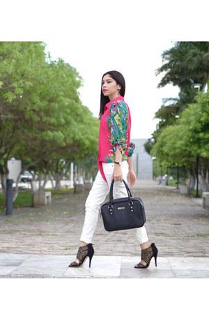 hot pink nicole miller blouse - black Kenneth Cole bag - black Aldo heels