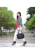 hot pink nicole miller blouse - black Kenneth Cole bag - black Aldo heels