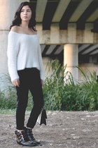 black sugar boots - black Forever 21 jeans - white Forever 21 sweater