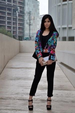 nicole miller blazer - black Forever 21 jeans - black Aldo purse