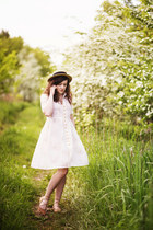 ivory handmade dress - neutral boater thrifted hat - camel unknown flats