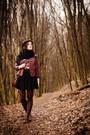 Maroon-biker-troll-jacket-magenta-book-of-deer-top-black-tatuum-skirt