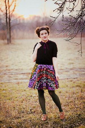 magenta DIY skirt - tawny Ambra shoes - black found sweater