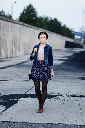 navy denim zalando jacket - light pink Bershka top - navy thrifted skirt