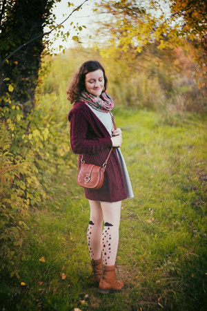 maroon thrifted cardigan - brown wojas boots - light blue found dress