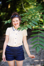 Navy-diy-a-robot-heart-shorts-ivory-thrifted-louche-blouse