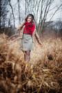 Beige-camaïeu-jacket-dark-khaki-tweed-wool-handmade-skirt