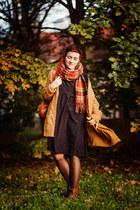 burnt orange plaid thrifted scarf - black VIPshop dress