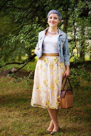 yellow VIPshop skirt - light blue denim thrifted jacket