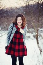 ruby red wool vintage coat - ruby red plaid wool handmade dress
