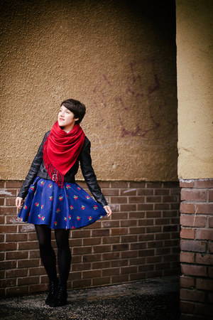blue a Robot Heart skirt - black new look jacket - red old scarf