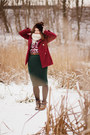 Ruby-red-book-of-deer-top-forest-green-vintage-skirt-silver-troll-cardigan