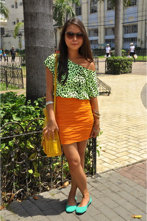 chartreuse Forever 21 shirt - Forever 21 sunglasses - carrot orange Zara skirt