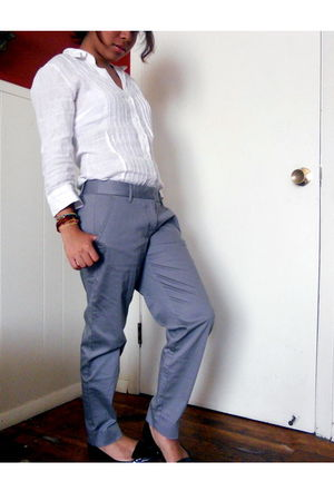 gray JCrew pants - black payless shoes - white Guess shirt