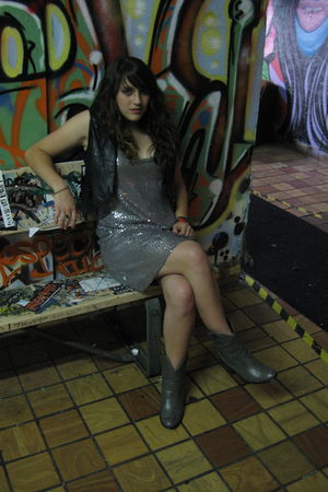 silver Lu Lu Lame dress - gray thrifted boots - black thrifted vest