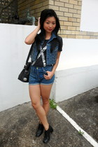 Levis studded denim vest - S & B Vie sequined t-shirt - S & B vie shorts - vinta