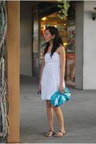 white random brand dress - blue H&M purse