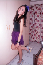 black Express top - purple peopleRpeople skirt - gray from Thailand shoes - purp