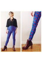blue Nasty Gal pants - brick red Dr Martens boots - black brandy melville blouse