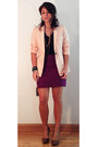 Light-pink-blazer-black-t-shirt-purple-skirt-dark-brown-heels