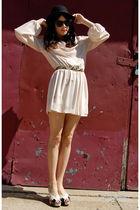 pink vintage from Rock Paper Vintage dress - yellow vintage belt