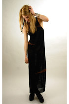 black sheer knit maxi vintage from Rock Paper Vintage dress - ivory The Chains o
