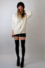 Cream-rock-paper-vintage-sweater-black-forever-21-shorts-silver-cross-ring-s