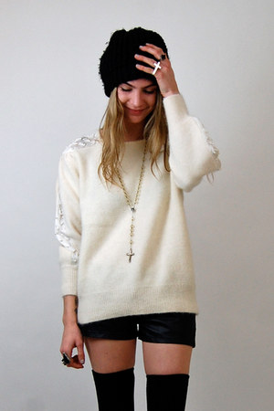 cream Rock Paper Vintage sweater - black Forever 21 shorts - silver cross ring s