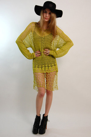 chartreuse crochet mini vintage from Rock Paper Vintage dress - black floppy For