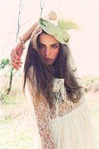 white vintage from Rock Paper Vintage dress - green vintage from Revival Vintage