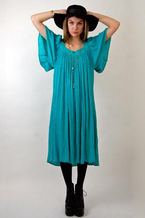 turquoise blue sheer gauze Rock Paper Vintage dress - black liiiiiita Jeffrey Ca