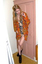 brown tie dye Rock Paper Vintage dress - carrot orange kimono Rock Paper Vintage