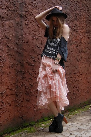 black lita Jeffrey Campbell heels - peach flapper Rock Paper Vintage dress
