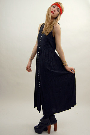 black dot maxi vintage from Rock Paper Vintage dress - red head band American Ap