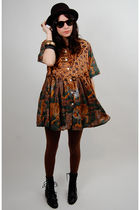 black Rock Paper Vintage dress - brown cynthia rowley tights