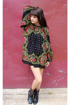 black studded boots Forever 21 boots - black floral dress vintage dress