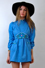 Sky-blue-embroidered-rock-paper-vintage-dress-black-floppy-forever-21-hat-bl