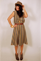 gray stripes dress vintage dress - green made by elves shoes