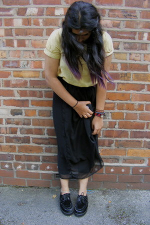 black creepers shoes - Ebay skirt - Primark top