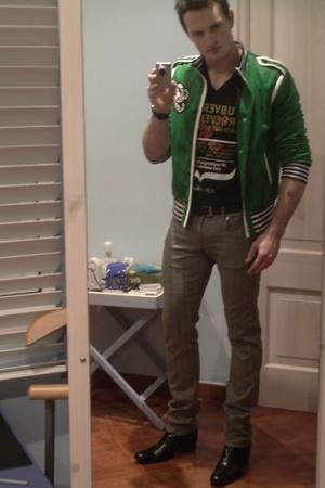 Gucci stud velvet jacket - Les Hommes v-neck t-shirt - Prada belt - Moschino gre