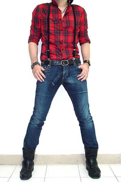 plaid shirt - dsquared fuk jeans - dr martens boots