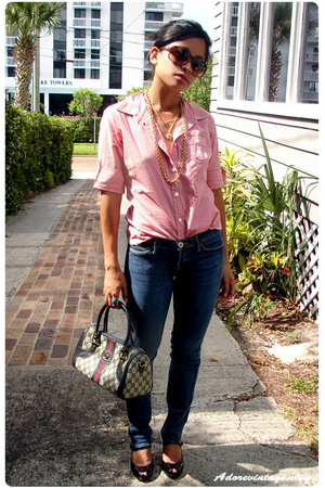 banana republic blouse - vintage necklace - Vintage Gucci purse - Nine West shoe