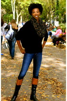 French Connection sweater - etienne aigner boots - J Brand jeans - scarf