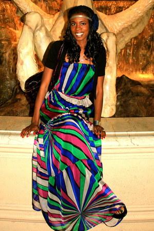 black H&M cardigan - blue maxi dress Arden B dress - crimson Fendi bag