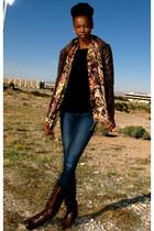 black Zen Cashmere sweater - dark brown Bucco boots - navy J Brand jeans